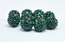 10pcs Dark Green 10mm Crystal Pave Clay Disco Ball for Shamballa Bracelets Beads
