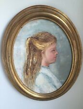 "Oil Painting Portrait of Blond Girl with Blue Dress Framed 15"" X 19"""
