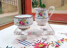 "VINTAGE ROYAL ALBERT PETIT POINT MINIATURE 2"" OPEN SUGAR AND CREAMER 1932-1997"