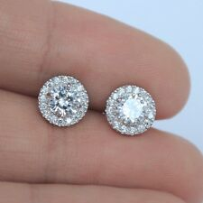 Sterling Silver & CZ Cubic Zirconia Stones 8mm Round Halo Stud Earrings