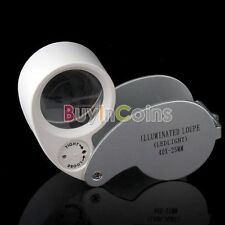 Portable Mini 40X 25MM Jeweler Loupe Magnifier Microscope With LED Tool