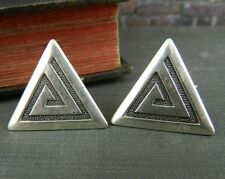 Sterling Silver Triangle Screw Back Earrings