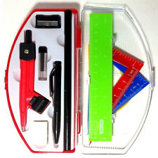 11PC New Geometry Mathematical Set Kit Protractor Pencil Compass Ruler Bazic