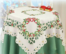 "Gift Set Christmas Holly 33"" Table Topper Embroidered PLUS 68"" Dresser Scarf"