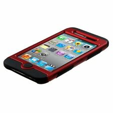 iPod Touch 4th Gen - Red Black Hard & Soft Rubber Armor Impact Hybrid Case Cover