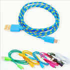 Data Sync Charger Cable Cord USB Micro Braided for Samsung Android HTC 1/2/3M