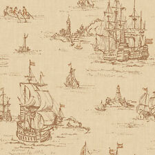 Distressed Clipper Ships Toile Wallpaper  ML1243  per Double Roll  FREE SHIPPING
