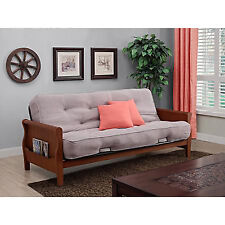 Convertible Futon Sofa Bed Couch Full Size Mattress Living Room Furniture Taupe
