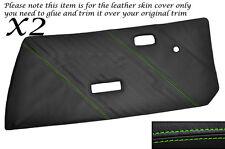GREEN Stitch 2x Porta Carte CUOIO PELLE copre gli accoppiamenti FIAT X1 / 9 X19 73-89