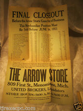 The Arrow Hardware Store Mich Close out 1950's Flyer advertising United Brokers