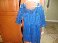 Betsey Johnson Womens Blue Lace Pleated Party Cocktail Dress 6