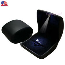 PU Leather Jewelry ring box case with light up Proposal Engagement Coin Gift