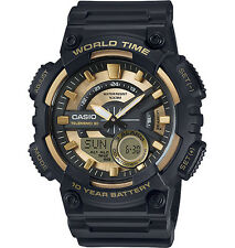 Casio AEQ110BW-9AV, Digital/Analog Combo, 3 Alarms, 30 Telememo, Black Resin