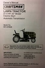 """Sears Craftsman 21.0 HP Lawn Riding Tractor & 42"""" Mower Owner & Parts Manual"""
