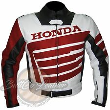 Men HONDA 9019 RED Racing Motorcycle Armour Biker Style Leather Jacket for HIM