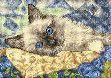 Cross Stitch Kit ~ Gold Collection Charming Kitty Cat on a Blanket #70-65150