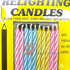10x Magic Funny Relighting Trick Joke Birthday Party Wax Glim Candles Burnner