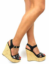 Kurt Geiger Womens Shoes Wedges Size 6 Sandals Black High Heels Ankle Strap New