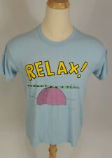 Vintage Thin 80s Shoe box Greeting Relax Snake Funny T Shirt Baby Blue L/M Usa