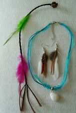 POCAHONTAS COSTUME SET OF ACCESSORIES. NECKLACE EARRINGS FEATHER HAIR CLIP