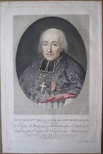 Pointillé coloré à la poupée de Bouquet, portrait de Monseigneur Montauban, 1808