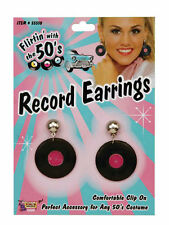 RECORD EARRINGS 1950'S STYLE WOMEN'S JEWELLERY FANCY DRESS ACCESSORY