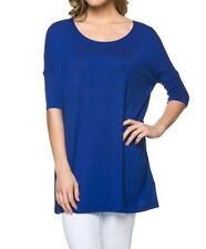 USA Women Boatneck Tunic Top Piko Style Blouse Loose Half Sleeve S M L 1X 2X 3X