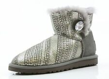 Women's UGG Mini Bailey Button Bling Taupe Grey Boots Size 5