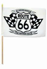 "12x18 12""x18"" Route 66 White Two Flags Stick Flag wood Staff"