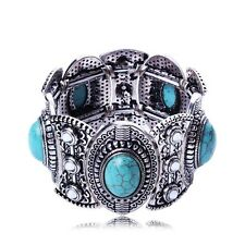 Fashion women antique silver turquoise retro tribal style cuff bangle bracelet