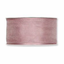 """Soft Antique Rose Organza ribbon 1.5"""" wired fabric 27yd roll European made"""