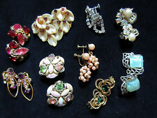 LOT OF 9 PAIR VINTAGE CLIP ON SCREW OLD LADY COTUME JEWELRY
