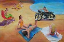 "LEON GOODMAN ORIGINAL ""Sunbeam Beach"" Marston Motorcycle Motorbike PAINTING"