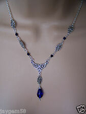 VINTAGE VICTORIAN STYLE NECKLACE BLUE GLASS TEAR DROP WITH SWAROVSKI ELEMENTS