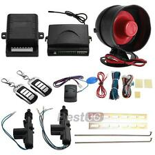 2 Door Remote Keyless Entry Central Lock Locking Kit + Car Alarm