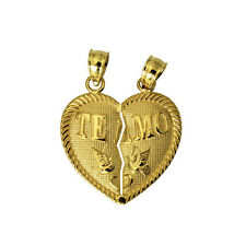 14K Solid Yellow Gold Te Amo Heart Split Break Breakable Love Charm Pendant