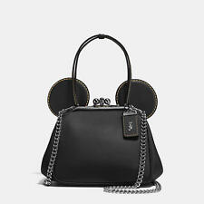 NWT DISNEY X COACH Limited Ed Mickey Mouse Kisslock Bag 37980 BLACK SOLD OUT