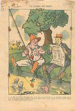 Caricature Politique Drôle de Guerre des Nerfs Pêche à la Ligne  WWII 1939