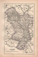 1889 ANTIQUE MAP JOHNSTON ENGLAND DERBYSHIRE ASHBY CHESTERFIELD BUXTON