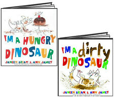 I'm a Hungry Dinosaur & I'm a Dirty Dinosaur (hc) by Janeen Brian NEW 2 Book Set