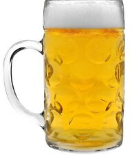 German Beer Stein Glass 2 Pint/1 Liter Dimpled Beer Mug, German Beer Tankard,