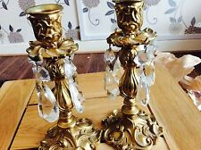 PAIR OF ANTIQUE VICTORIAN 19C BOHEMIAN GOLD GILT CRYSTAL LUSTRE CANDLE HOLDERS.