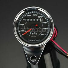 Motorcycle Dual Speedometer Tachometer Speedo Meter LED For Honda Cafe Racer New