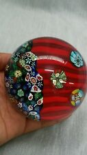 vtg. Italian Murano scrumble millefiori canes  art glass paperweight red