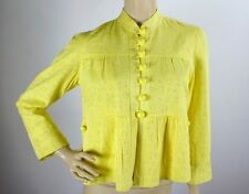 Anthropologie Elevenses Yellow Eyelet Floral Embroidered Swing Jacket Top Sz 8