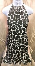 Halter Shift Black/White 100% Silk Dress Giraffe Print Sz US 6