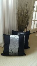 "WHY NEXT  4 X 18"" BLACK FAUX SUEDE /SILVER MARBLE VELOUR STRIPE  CUSHION COVERS"