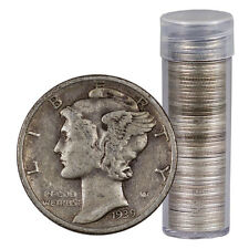 $5 Face Roll - 50 coins - 90% Silver Mercury 10c Dimes Avg Circulated Sku32670