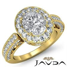 Halo Pave Oval Diamond Filigree Engagement Ring GIA F VS2 18k Yellow Gold 2.5ct