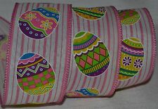 """Wired Ribbon~Decorated Easter Egg~Pink Stripe~White~2.5""""~Spring~Wreath~Craft~Bow"""